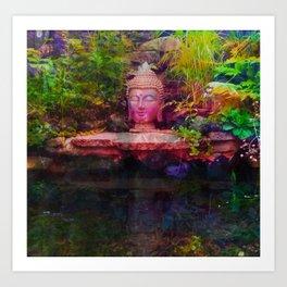 Buddha Square Composition Refelection Art Print
