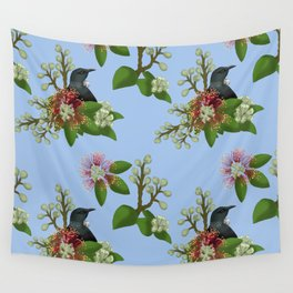 Tui in Pohutukawa Flowers Wall Tapestry