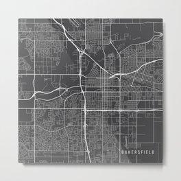 Bakersfield Map, USA - Gray Metal Print