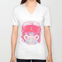 princess bubblegum V-neck T-shirts featuring Princess Bubblegum: SCIENCE! by MortinfamiART