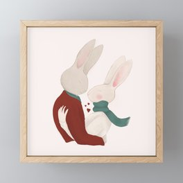 Couple of rabbits in love Framed Mini Art Print