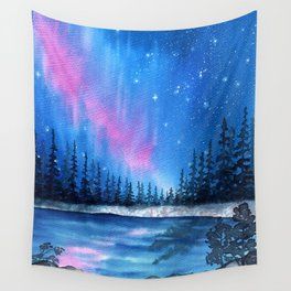 """Lavender Lights"" Aurora Borealis watercolor painting Wall Tapestry"