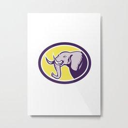 Elephant Head Side Oval Metal Print