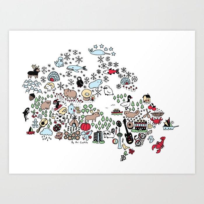 Canada Map Art Print by anicastillo Society6