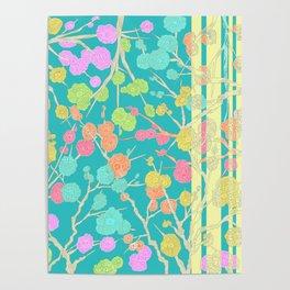 Bright Cherry Blossom Stripe Poster