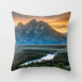 Sunset On Grand Teton And Snake River Throw Pillow