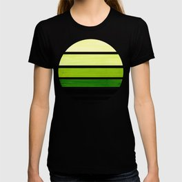 Sap Green Mid Century Modern Minimalist Circle Round Photo Staggered Sunset Geometric Stripe Design T-shirt
