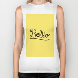Funny Bello Hello Typography in Yellow and Black Biker Tank