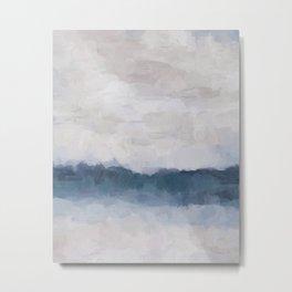 Navy Indigo Blue Water, Lavender Clouds, Beige Sandy Plains Beach, Calm & Relaxing Modern Abstract Painting, Art Print Wall Decor  Metal Print