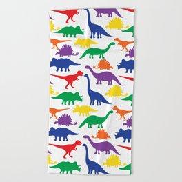 Dinosaurs - White Beach Towel