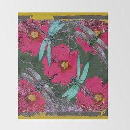 SHABBY CHIC BLUE DRAGONFLIES ON  FUCHSIA HOLLYHOCK FLOWERS Throw Blanket