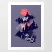 sunset Art Prints featuring Samurai's life by Picomodi