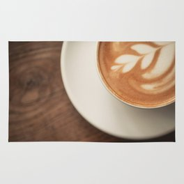Warm artisanal Cappuccino for a Morning Sunday breakfast Rug