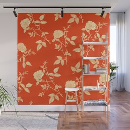 GOLDEN ROSE FLOWERS ON RED Wall Mural