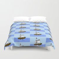 pirate ship Duvet Covers featuring Pirate Ship by Isobel Woodcock Illustration