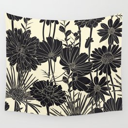 BLACK FLOWERS Wall Tapestry