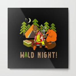 Camping Wild Night Metal Print