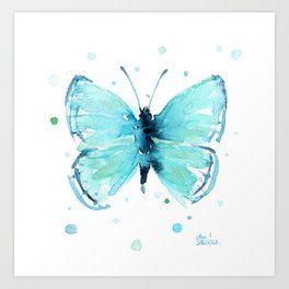 Blue Abstract Butterfly Art Print