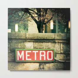METRO SIGN, PLACE DE LA CONCORDE Metal Print