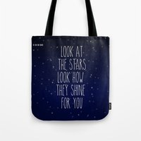 coldplay Tote Bags featuring Look How They Shine For You 2.0 by Adel