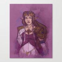 zelda Canvas Prints featuring Zelda by Karen Hallion Illustrations