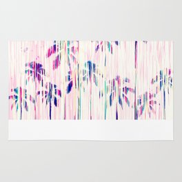 Girly Pink Teal Watercolor Dripping Palm Trees Rug