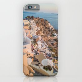 Golden Hour | Landscape Photography of Santorini Sunset Over Greece White Buildings iPhone Case