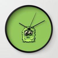 furry Wall Clocks featuring Furry by Keyspice