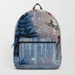 Funny snow women with bird Backpack