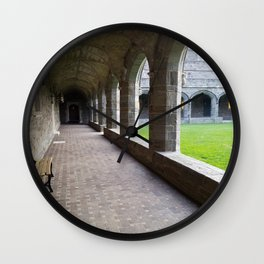 Bryn Mawr Cloisters Hallway and View to Interior Lawn Wall Clock