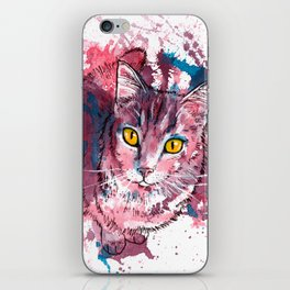 Cat Portrait, pink and purple shades, abstract acrylic painting iPhone Skin