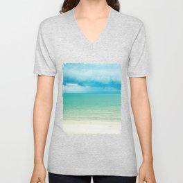 Blue Turquoise Tropical Sandy Beach Unisex V-Neck