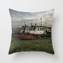 Old Police Boats Throw Pillow