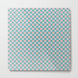 Aqua & Pink Geometric Flower Pattern Metal Print