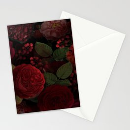 Vintage And Shabby-Chic Roses In Red And Black Midnight Botanical Rose Garden Stationery Cards