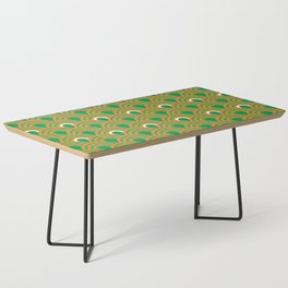 retro sixties inspired fan pattern in green and orange Coffee Table