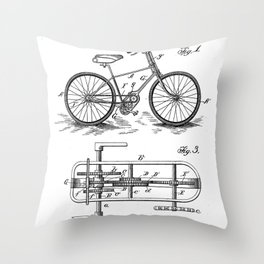 Bike Patent - Bicycle Art - Black And White Throw Pillow