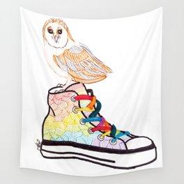 Owl on sneaker Wall Tapestry
