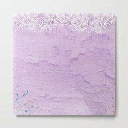 Pale Pink parchment,vintage,floral,flowers Metal Print