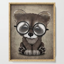 Cute Nerdy Raccoon Wearing Glasses Serving Tray