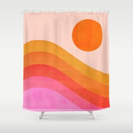 Abstraction_SUNSET_OCEAN_COLOR_POP_ART_Minimalism_009D Shower Curtain