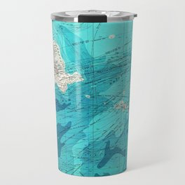 Vintage Blue Transatlantic Mapping Travel Mug