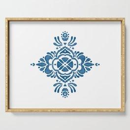 Blue Folk Design Motif Serving Tray