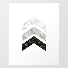 Gold Flecked Marble Chevrons Art Print