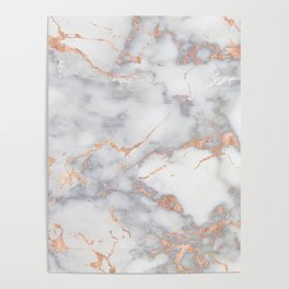 Gray Marble Rosegold  Glitter Pink Metallic Foil Style Poster