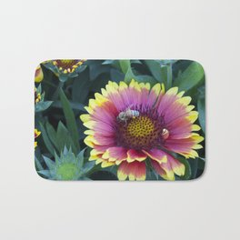 Beautiful red Sunflower with Bee Bath Mat