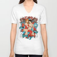 couple V-neck T-shirts featuring Couple by Tshirt-Factory