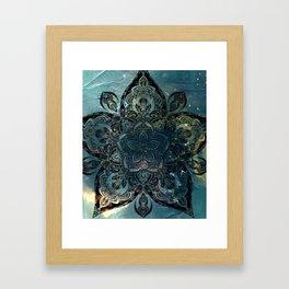 Flower mandala -night Framed Art Print