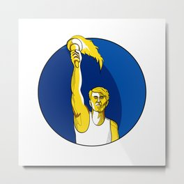 Athlete With Flaming Torch Drawing Metal Print