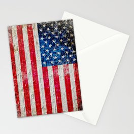 Distressed American Flag On Old Brick Wall - Horizontal Stationery Cards